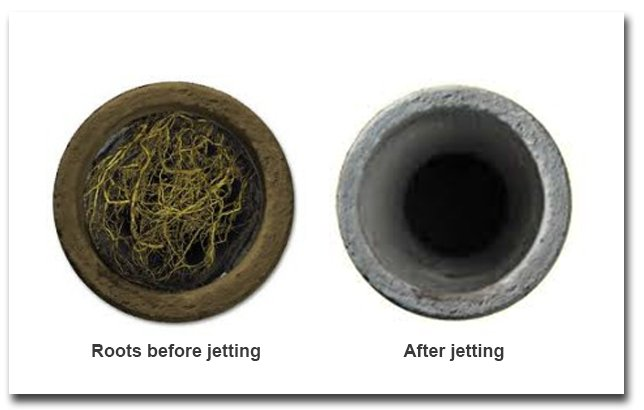 a sewer line before and after pressure jetting