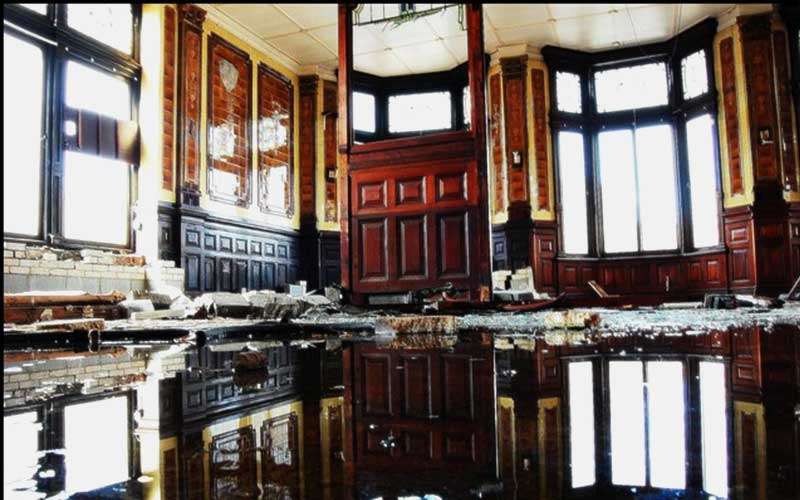 a room damaged by flooding