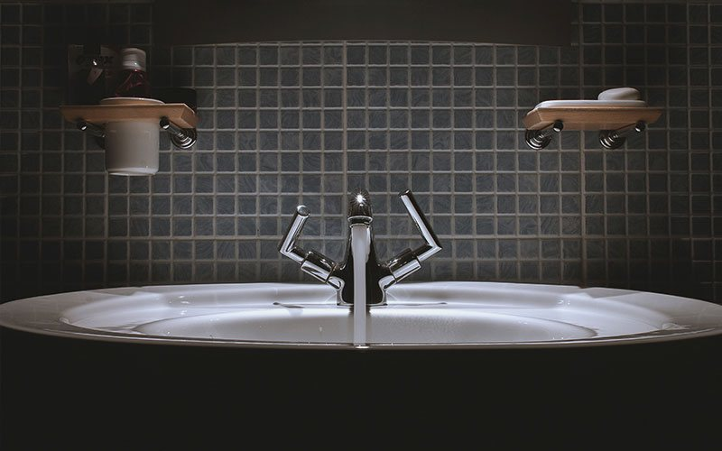 how water flowing from a bathroom sink