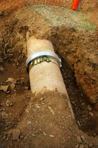 an underground water line pipe